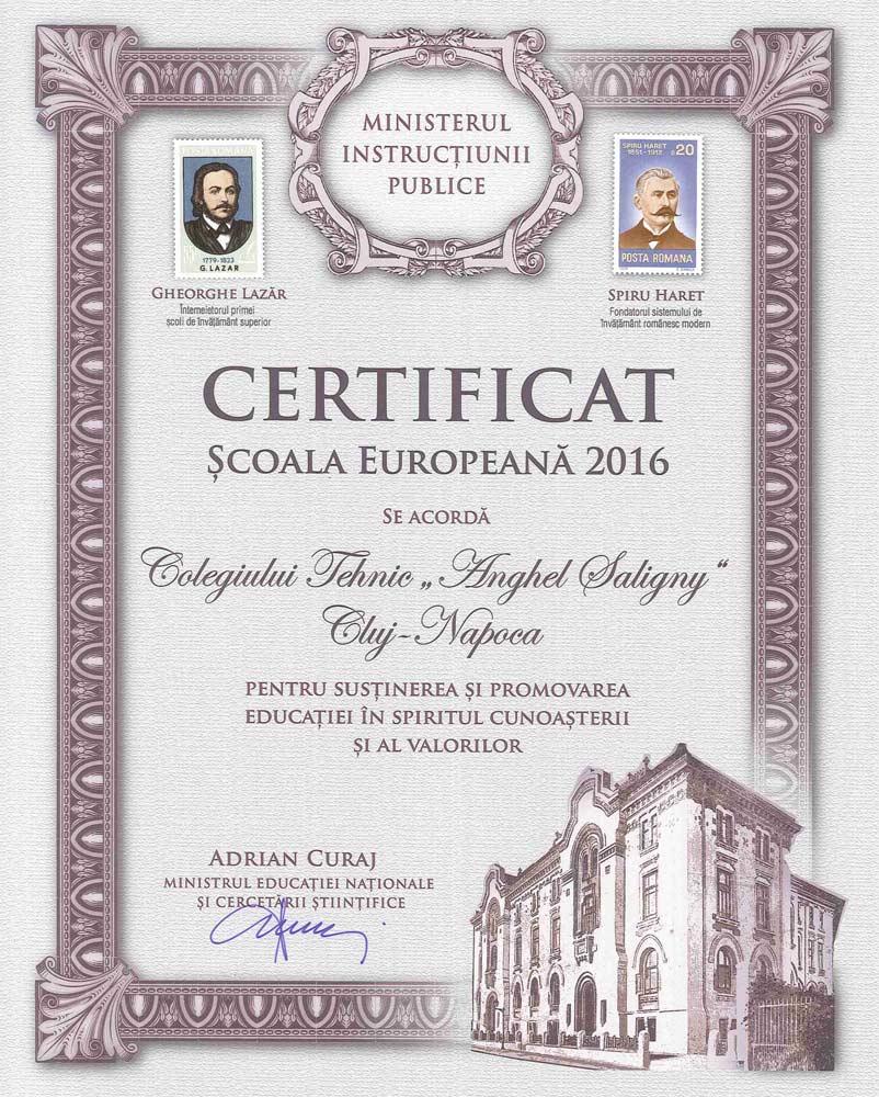 Certificat scoala europeana 2016