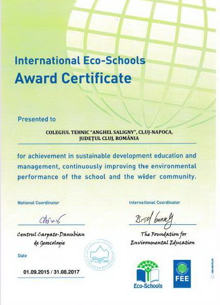 Proiectul International ECO-Scoala 2013-2015